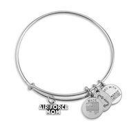 air force mom - Antique Silver a Air Force MOM Sign Charm Pendant Wire Adjustable Statement Bracelets Bangle For Woman Jewelry Gifts