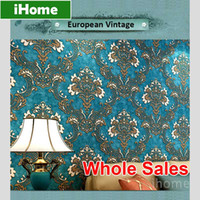 Wholesale Wholesales Rolls Non woven Continental Retro Wallpaper Living Room D European Vintage Wall Covering Textured Paper Backdrop