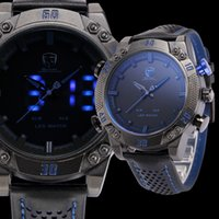 led watches - Shark Brand Sports Watches Black Blue Dual Time Auto Date Alarm Leather Band LED Male Clock Analog Military Quartz Men Digital Watch SH265