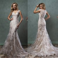 Wholesale 2016 Anna Campbell Lace Wedding Dresses V Neck Sleeveless Mermaid Bridal Gowns Floor Length Custom Made Wedding Dress