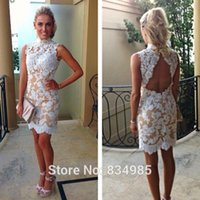 Cheap 2015 Sexy Sheath Party Dresses High Neck Backless Applique Champagne Mini Prom Cocktail Dress Girls Graduation Homecoming Dress Gowns Cheap