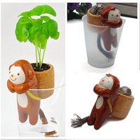 Wholesale 1pcs Office Desktop Plants Mini Desktop Animal Tail Absorbent Self Watering Potted Plant Grass DIY Ornamen Grass Doll