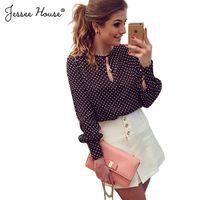 Cheap Wholesale-Plus Size Blusas Femininas Blusa De Renda 2015 Polka Dot Vintage Chiffon Ladies Blouse Tops Long Sleeve Women Shirt Blouses 0530