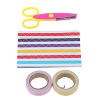 Wholesale DIY Cute Colorful Photo Album Scrapbook Accessory Sheet sheet Corner Paste Edge Wave Scissor Cloth Adhesive Tape D3125