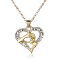 Cheap Wholesale-New Silver gold heart Charms Necklace Mom gift Mother's day gift mom and baby hand love chain necklace