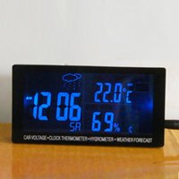 alarm clock with weather display - Big display LED digital watch for car with voltmeter thermometer hygrometer weather station luminous car clock relogio carro