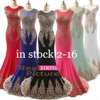 Wholesale 2017 Chic Real Image Prom Evening Gowns Red Black Blue White Mint Mermaid Sheer Neck Straps Formal Pageant Gowns Dress for Party