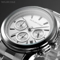 auto car japan - car Taylor Cole Hours Calendar Display Silver Full Steel Band Relogio Japan Quartz Analog Dress Wrist Women Casual Watch TC007