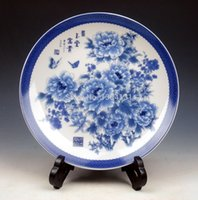 Wholesale Blue White Butterfly Flowers Hand Painted Porcelain Plate w Stand