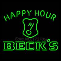becks sign - Beck Key Logo Happy Hour Beer Light Neon Beer Bar Sign Gift Avize Neon Nets Jerseyy Real Glass Tube