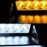 Strobe Light 8W 12V New hot 8 LED Emergency Vehicle Dash Warning Strobe Flash Light lamps bulbs Yellow Amber+White free shipping