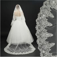 affordable bridal accessories - White Ivory Affordable In Stock meter Long Lace sequins Wedding Veil Bridal Veils Wedding Accessories Cheap Long Elegant Lace Tulle Veil