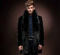 achat en gros de mens long et épais manteau noir-Manteau New Mens manches longues fausse fourrure revers cou noir épais hiver chaud fourrure de vison Veste Tops winterwear livraison gratuite S-XXXL MT03