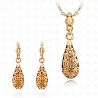 Wholesale Top quailty k rose gold Hollow water drop jewelry sets earring necklace one sets woamen wedding jewelry sets ladies jewelry girls necklace