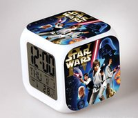 Wholesale 2016 star wars clock LED Digital Alarm Clocks Colors Change clock with nightlight Thermometer home decor christmas gift home sale