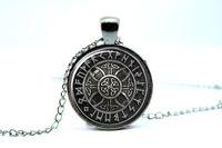 rune - 10PCS Norse Viking Cross in Rune Circle in Gun Metal Black glass cabochon necklace