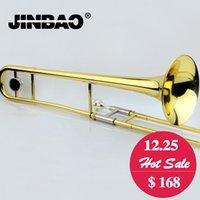 Nouveau professionnel JINBAO JBSL-a700 Alto Trombone B Flat Gold Lacquer Instruments à musique en trombone en laiton avec embout trombone