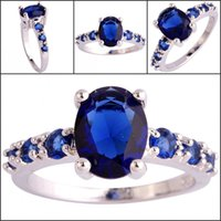 amethyst ring sale - Blue Peridot Amethyst Garnet A0056 Wedding Prom Party Rings Gemstones New Hot Sale K White Gold Plated Crystals Ring with Side Stones