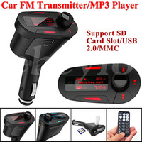 Wholesale New Car Kit MP3 Player Wireless FM Transmitter Modulator wma wireless USB SD MMC LCD With Remote Blue red Light