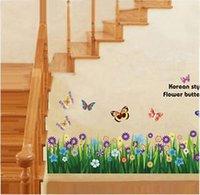 baseboard styles - Korean Style Butterfly Grass Flower Baseboard Wall Sticker Decor Decals Art WS
