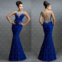 Wholesale 2015 Sheer Neck Blue Formal Evening Prom Dresses Beads Embroidery Appliques Sleeveless Special Occasion Wedding Party Gowns Plus Size