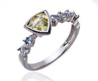 aquamarine quartz - Natural Lemon Quartz amp Aquamarine Gemstones Solid Sterling Silver Ring Fine Jewelry