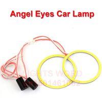 headlight assembly - TOP X80mm COB Angel Eye LED Chip Car Light Super Brightness Auto Headlight LED Lighting Lamp with Fog Car Styling