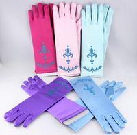Wholesale New Princess Girls Childs Wedding Gloves Accessories Bride Flowers Short Ruffles Gloves Sun Protection Hand Wear Pink Blue Purple Rose M2994