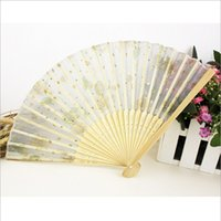 Wholesale In Stock Hot Sale Printed Silk bridal fans wedding Cheap Wedding Accessories Mixed up