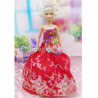 Wholesale mix color Handmade Toy inch kids baby doll Clothes for girls Festive red embroidery wedding dress best gift for my baby