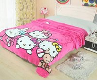 baby quilt fabrics - Baby Kids Hello Kitty Blanket Coral Fleece Blanket On The Bed Soft Fleece Blanket Hello Kitty Quilt Picnic Blankets