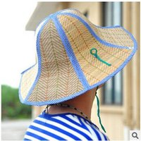 natural straw hat - 3 colors Hot Foldable hem bow beach cap bucket hats with ribbon on Unisex s Natural Woven Straw hat sun shading hat LJJC491