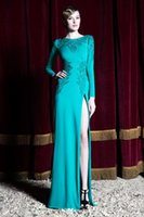 Cheap Zuhair Murad 2016 Aqua Long Sleeves Sexy Prom Dresses Sweep Train High Side Slit Evening Party Gowns Custom Made Prom Dress Applique Dresses