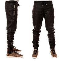 leather joggers - Top Quality Mens Leather Pants Gold Zipper HipHop Pants Trackpants Perfect Fit Slim Motorcycle Leather jogger Pants EUR Size