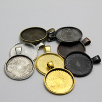 Wholesale 50pcs Inch Round Pendant Tray mm Cabochon Setting Round Bezel Pendant Blanks Blank Cameo Settings
