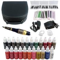 makeup permanent makeup kit - Hot Eyebrow Kit Permanent Makeup Machine Tattoo Power Supply Ink Needle Tip EK706