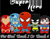 Wholesale 3D Cartoon COOL Superhero Soft Silicone Rubber Case For iPod Touch Th Touch