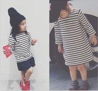baby long sleeve undershirts - 2015 Autumn Dresses INS Baby Girls Stripes Dress Princess Leisure Long Sleeve Undershirt Children Kids Dress Clothing Blackwhite