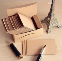 boxed greeting cards - Retro Blank Diy Message Noted Card Kraft G Paper Thick Cardboard Corner Brown Paper Word Cards sheet Box sheet