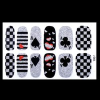 art design cards - Nail Art Stickers Nail Transfer Foil Decals Foils Polish Adhesive Wraps DIY Nail Craft Alice Wonderland Poker Cards Design