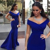 Wholesale Charming Royal Blue Evening Prom Gowns Backless Formal Party Dresses Occasion Mermaid Off Shoulder Capped Celebrity dress Arabic Dubai