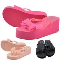 Wholesale Best Deal Good Quality New Fashion Summer Women Bowknot Sandal Platform Wedges Flip Flops Home Slippers