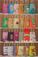 Cheap PP040 22Styles Happy Birthday with handle kraft bag food packaging paper bag 21X13X8cm Gift bag(30pcs Lot) Party Decor