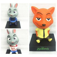 Wholesale New HOT Cute cm Movie Zootopia Cartoon Bobble Head Shaking Head Toy Model Car Decoration Boxed PVC Action Figure Doll Gift