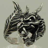 indian head rings - men vivid dragon tongue head tail biker rock punk L stainless steel ring size g