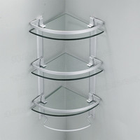 Wholesale Aluminum tier glass shelf shower holder bathroom accessories corner shelves for storage wall mount
