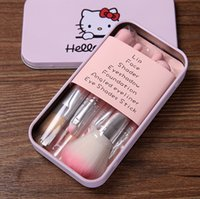 Cheap HelloKitty 7 pcs Makeup Brushes Professional Cosmetic Brush Sets Makeup Tools Suit Gift With Box DHL Free 50pcs