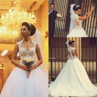 Wholesale Vestido De Noiva Gorgeous Princess Long Beaded Lace Saudi Arabic Ball Gown Wedding Dresses EA0107