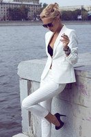 women business suits - Custom Fashion Ivory Women Tuxedos Shawl Lapel Suits For Women One Button Business Women Suits