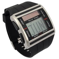 auto scrolling - fashion man Sport Digital Solar Power Binary Rectangle dial mens sports Watch with Cool Scrolling Time week